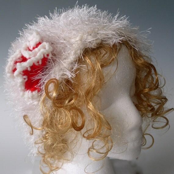 SNOWBALL off-White  2 ply hand spun  hand knit ALPACA fluffy,  trimmed with eyelash yarn beanie hat -detatchable crocheted flower