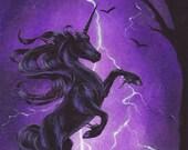 ACEO Black Unicorn Night Lightning Storm Original Painting Fantasy Art