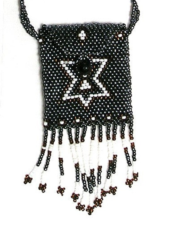 Amulet  Medicine Back, Necklace Bag, Hand Beaded, Native American Design, Gray Hematite, Brown, White Colors