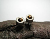 MINIATURE Rustic Dogwood Twig Wooden Stud Earrings with Tiger's Eye Bead No2 by Tanja Sova