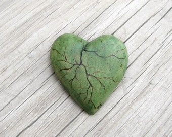 Tilia cordata - Linden Leaf Like Green Wooden Heart Brooch - Pin by Tanja Sova
