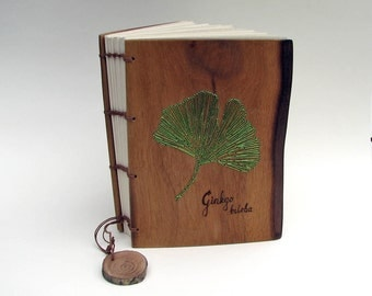 Ginkgo biloba Embroidered Customizable Rustic Natural Edge American Black Walnut Wood Wedding Guest Book or Journal by Tanja Sova