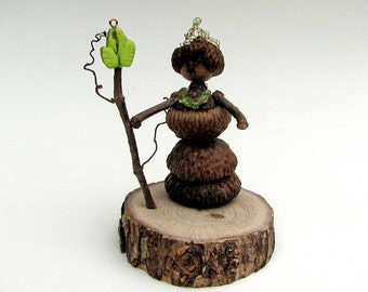 Queen of Quercuspatria  - Natural Rustic Acorn and Peridot Assemblage - Original Art by Tanja Sova