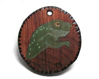 Pyrography Original Art Magnificent Tree Frog - Litoria splendida pendant by Tanja Sova