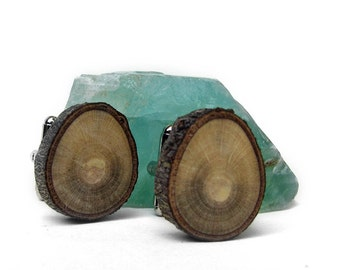 Rustic Magnolia Twig Wooden Cuff Links No 2 by Tanja Sova
