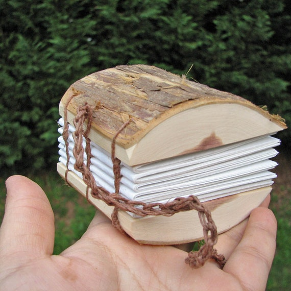 Mini Rustic Natural Bark Cedar Wood Address Book or Journal by Tanja Sova