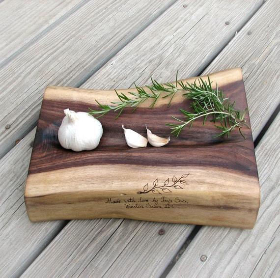 Tiramisu 1: Organic Natural Edge Rustic Walnut Wood Cutting Board or Platter by Tanja Sova