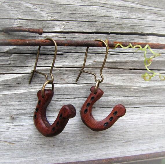Rusty Horseshoe - Wamara Rosewood Hand Carved Earrings by Tanja Sova