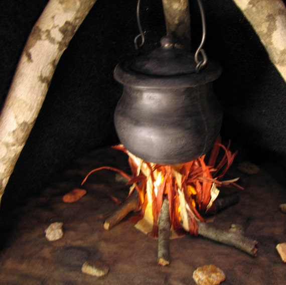 Cauldron Above Campfire Inspired Diorama or Wedding - Engagement Ring or Tinket Box by Tanja Sova