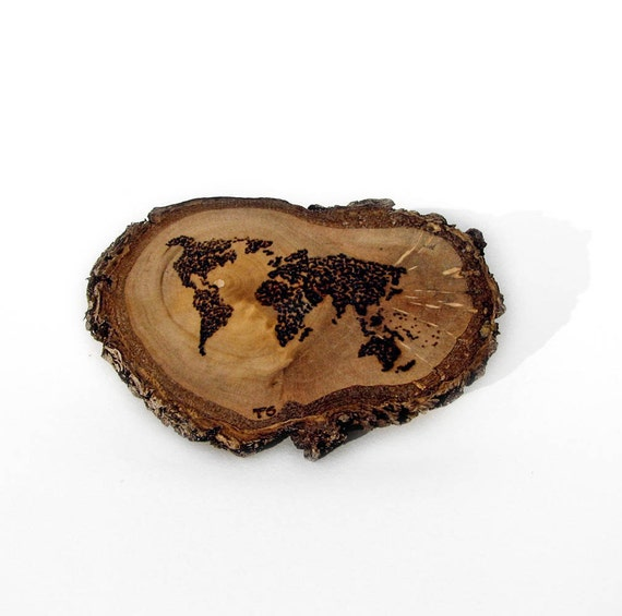 Rustic Twig Slice Wooden World Dotted Map Brooch - Pin - Pyrography by Tanja Sova