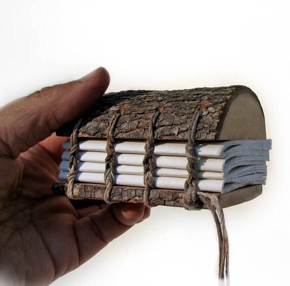 Mini Rustic Natural Bark Bradford Pear Wood Address Book or Wedding Guestbook or Journal by Tanja Sova