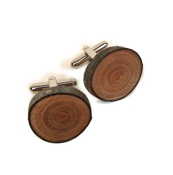 Rustic Bradford Pear Twig Wooden Cuff Links by Tanja Sova