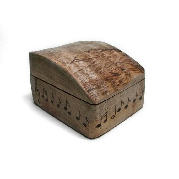 Rustic Natural Wooden Music Notes Ring Box No 4 by Tanja Sova