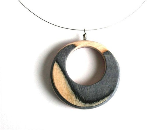 Recycled Skateboard Necklace - 2in1 Circles - medium