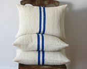 Vintage Grainsack Pillow Double Blue Stripe