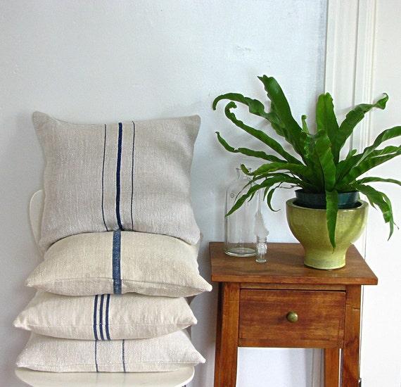 Grain Sack Pillow Triple Blue Stripes