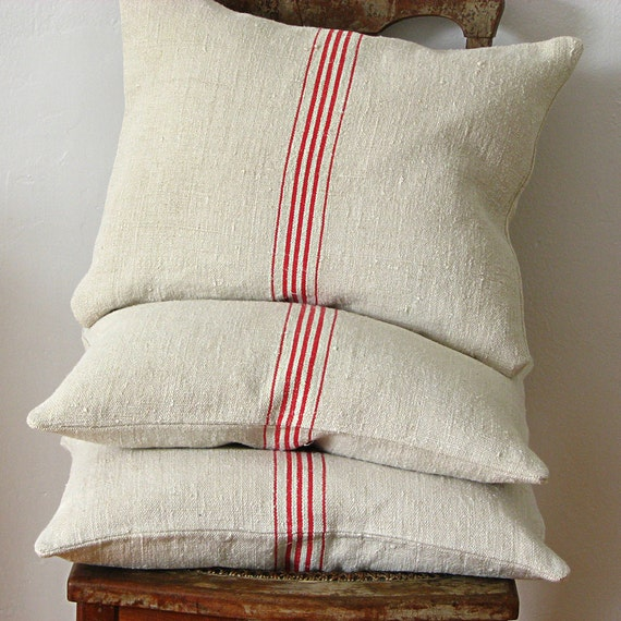 Vintage Grainsack Pillow Five Red Stripes