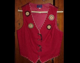Wool Appliqued Vest - Wool Pennies and Blanket Stitches