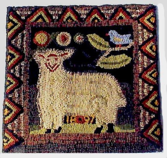 Rug Hooking Pattern 1897 Sheep Antique Rug Adaptation