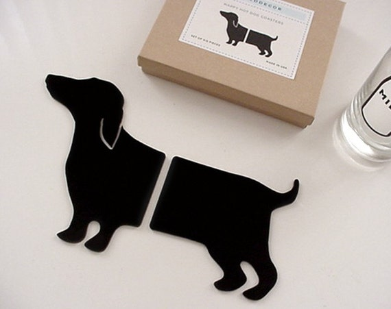 Adorable Set of 6 DACHSHUND Doxie Wiener Hot Dog Coasters in Black
