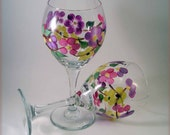 Hand Painted Pretty Posies And Butterfly Wine Glass