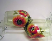 Poppy Wine Glasses Painted