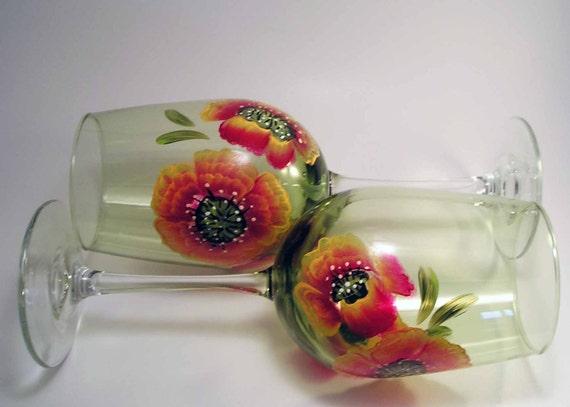 Poppy Wine Glasses Painted