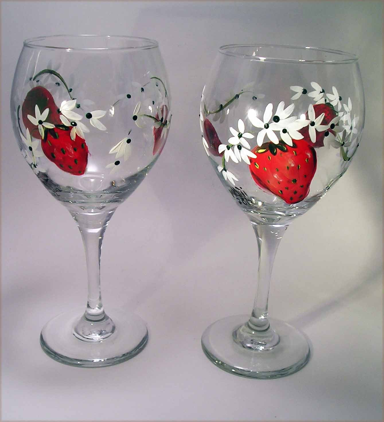 Strawberry wine glasses hand painted for Hand painted wine glasses