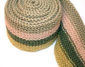The Darling Buds of May Knitted Skinny Scarf in Celadon, Jalapeno, Beige and Sage Green