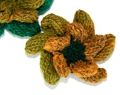 SALE - OOAK Small Knitted Flower Brooch Corsage in Yellow and Lime Green