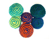 The Whirlpool Hand Knit Brooch in Cobalt Blue and Grass Green - wintergarden