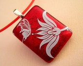 Cherry Red Butterfly Floral Fused Dichroic Glass Pendant