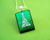 Emerald Green Snowflake Christmas Tree Fused Dichroic Glass Pendant