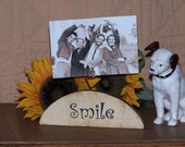 Wood Photo Display Stand, Shabby Cottage Chic Home Decor, Smile Sign, Country Primitive Farmhouse, Picture Holder Shelf Sitter