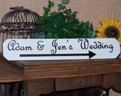 Wood Wedding Sign, Directional, Indoor/Outdoor, Hand Inked Calligraphy, Rustic Shabby Cottage, Text and Color Choice