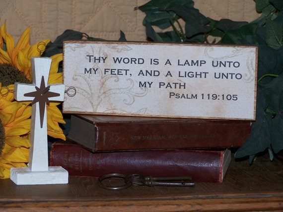Decoupage Wood Sign, Home Decor, Victorian, Scripture Quote, Bible Verse Psalm 119.105, Thy Word is a Lamp, Ready to Ship