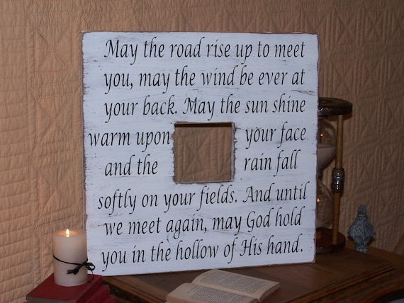 "Wood Picture Frame Home Decor, Shabby Country Cottage, Large 20"" x 20"", Irish Blessing Prayer Quote, Primitive Farmhouse, Wall Hanging Sign"