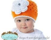 Flower Beanie - Bright Orange, White