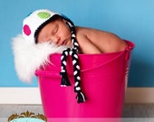 Polka Dot Ear Flap Hat - White, Black, Bright Lime, Turquoise, Bright Pink