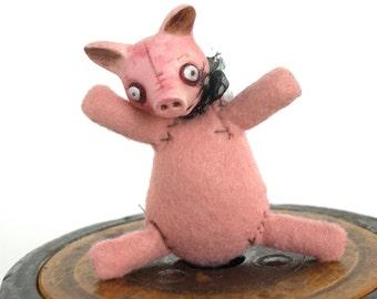 Pink  Artist made Pig BJD or Blythe prop or nursery kids room decor