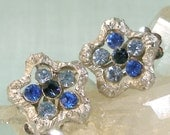 Blue Rhinestone in Silver Star Earrings