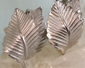 Silver Double Leaf Clip on Earrings
