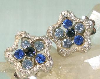 Blue Rhinestone in Silver Star Earrings