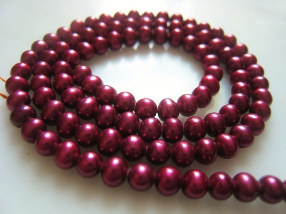 4.5mm Deep Pink Berry Fuschia Potato Freshwater Pearl Full Strand Item No. 4664