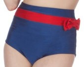 Frannie Super High Waisted Navy and Red Bikini Bottom with Bow (XS and S only)
