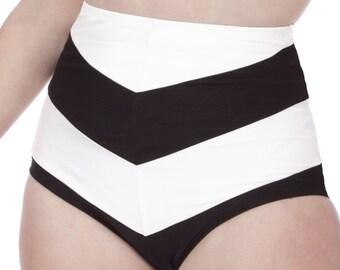 Amelia High Waisted Chevron Stripe Bikini Bottom in Black & White
