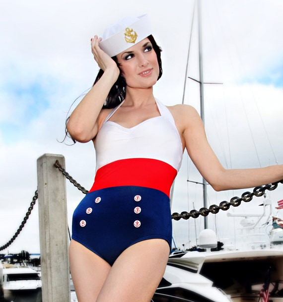 Sailor Color Blocked Nautical Retro Onepiece Bombshell Americana Swimsuit 2X only