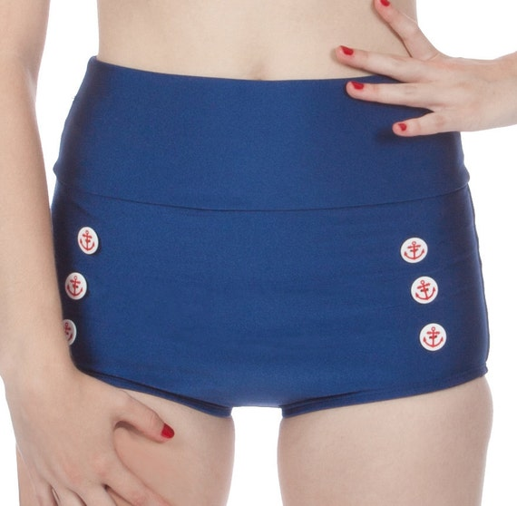 Skipper Super High Waisted Navy Nautical Sailor Bikini Bottom (XS-2X)