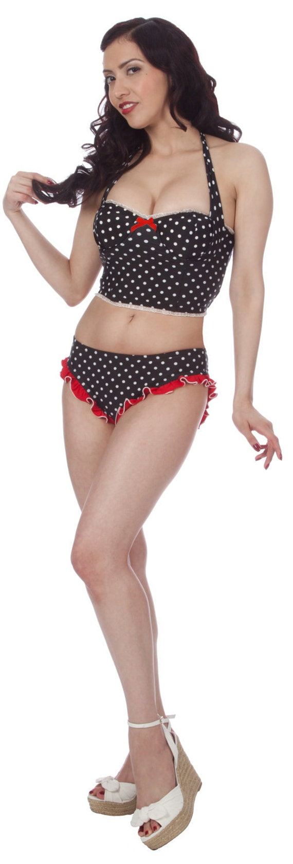 Lindy Halter Strap Polka Dotted Swim Bustier in Black/White (XS-1X)