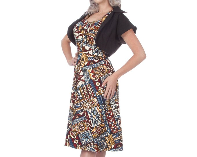 Madison Vintage Inspired Bark Cloth Tiki Dress in Multi Colored Tribal Print (XS-L) SALE!!